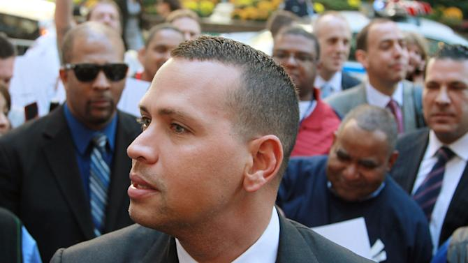 FILE - In this Oct. 1, 2013, file photo, New York Yankees' Alex Rodriguez arrives at the offices of Major League Baseball in New York. Attorneys for Rodriguez will appear in a New York courtroom for an initial court conference in his lawsuit against Major League Baseball. The New York Yankees third baseman is not expected at the meeting Thursday, Nov. 7, 2013, in Manhattan federal court. (AP Photo/David Karp, File)