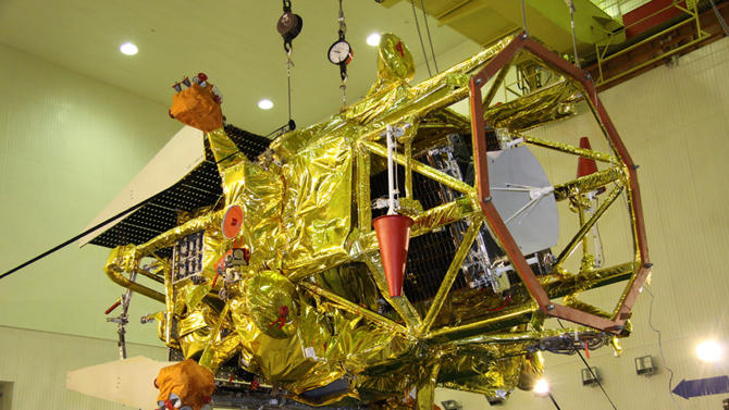 In this Nov.2, 2011 photo distributed by Russian Roscosmos  space agency on Wednesday, Nov. 9, 2011, the unmanned Phobos-Grunt probe  is seen on the Baikonur Cosmodrome, Kazakhstan. The daring Russian mission to fly an unmanned probe to Phobos, a moon of Mars, and fly samples of its soil back to Earth was derailed on Wednesday, Nov. 9, 2011, right after its launch by equipment failure.(AP photo/ Russian Roscosmoc space agency, HO) EDITORIAL USE ONLY