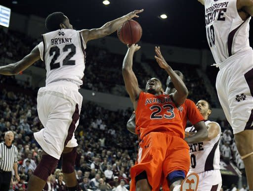 Moultrie, No. 22 Mississippi St beat Auburn 91-88