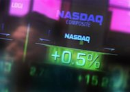File image of the Nasdaq Composite stock market index seen inside their studios at Times Square in New York