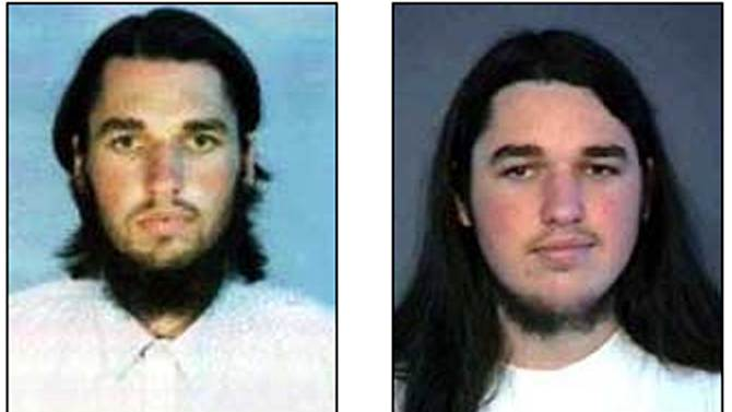 """FILE - These undated photos released by the FBI show Adam Yahiye Gadahn. Born Adam Pearlman in Oregon, Gadahn converted to Islam in 1995 and moved to Pakistan, where he joined al-Qaida as a propagandist. Using the name """"Azzam the American,"""" he appeared in numerous al-Qaida videos, denouncing U.S. moves in Afghanistan and elsewhere and threatening attacks on Western interests abroad. (AP Photo/FBI, File)"""