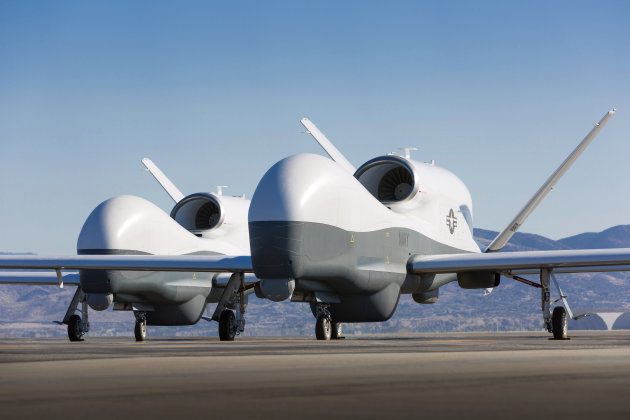 Handout of two Northrop Grumman MQ-4C Triton unmanned aerial vehicles are seen on the tarmac at a Northrop Grumman test facility in Palmdale,