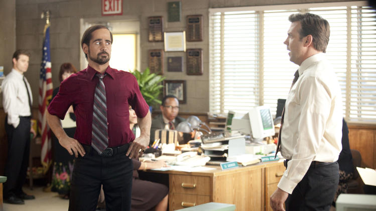 "In this film publicity image released by Warner Bros. Pictures, Colin Farrell, left, and Jason Sudeikis are shown in a scene from ""Horrible Bosses."" (AP Photo/Warner Bros. Pictures, John P. Johnson)"