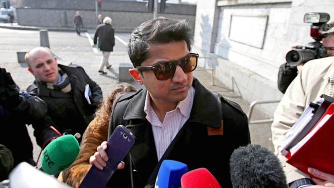Praveen Halappanavar, the husband of Savita Halappanavar arrives for the inquest into her death at Galway Coroners court. in Ga;way Ireland Monday April 8, 2013. Savita Halappanavar was 17 weeks pregnant when she was admitted to University Hospital Galway on Oct. 21 last year and died a week later from suspected septicaemia, days after she lost her baby. The 31-year-old's widower Praveen maintains the couple repeatedly requested a termination but were refused because the foetal heartbeat was present. (AP Photo/ Niall Carson/PA) UNITED KINGDOM OUT