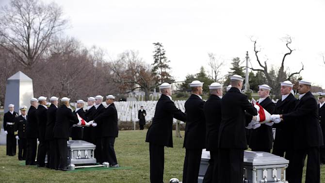 Two honor guards simultaneously fold two American flags during services to honor two sailors from the Civil War ship, the USS Monitor, at Arlington National Cemetery, Friday, March 8, 2013 in Arlington, Va. A century and a half after the Civil War ship the USS Monitor sank, two unknown crewmen found in the ironclad's turret were buried at Arlington National Cemetery. Friday's burial may be the last time Civil War soldiers are buried at the cemetery. (AP Photo/Alex Brandon)