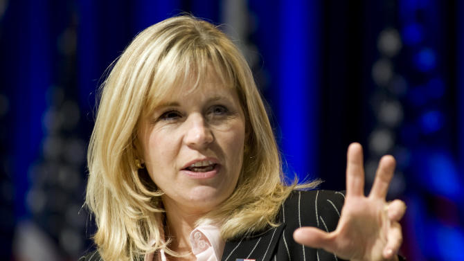 FILE - In this Feb. 18, 2010, file photo, Liz Cheney addresses the Conservative Political Action Conference in Washington. Cheney announced Tuesday, July 16, 2013, she will run against Wyoming's senior U.S. senator Mike Enzi in next year's Republican primary. (AP Photo/Cliff Owen, File)