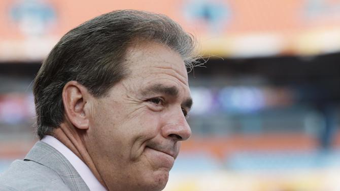 Alabama head coach Nick Saban speaks during Media Day for the BCS National Championship college football game Saturday, Jan. 5, 2013, in Miami. Alabama faces Notre Dame in Monday's championship game. (AP Photo/Chris O'Meara)
