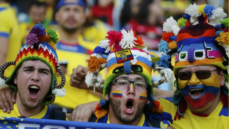 Ecuadoran fans cheer before the 2014 World Cup Group E soccer match between Ecuador and France at the Maracana stadium in Rio de Janeiro
