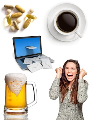 coffee, beer, stressed