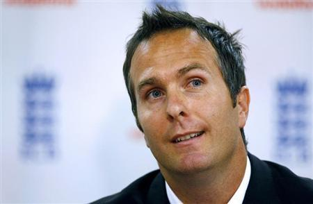 Former England cricket captain Vaughan listens to questions during a news conference in Birmingham