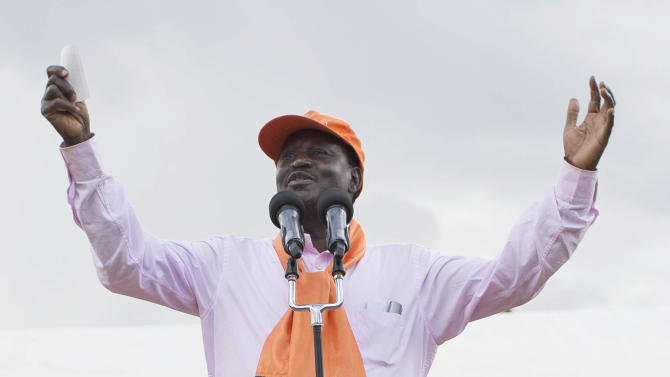 FILE - In this Thursday, Feb. 21, 2013 file photo, Kenyan presidential candidate Raila Odinga speaks to the crowd at an election rally in Iten, Kenya. The toll of more than 1,000 dead after Kenya's last election makes the presidential vote on Monday, March 4, 2013 the most important in the country's 50-year history, while a slate of new races and a presidential candidate Uhuru Kenyatta who faces charges at the International Criminal Court also make it Kenya's most complicated. (AP Photo/Mackenzie Knowles-Coursin, File)
