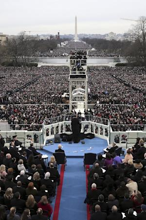 President Barack Obama gives his inauguration address at his ceremonial swearing-in ceremony during the 57th Presidential Inauguration, Monday, Jan. 21, 2013, on the West Front of the  Capitol in Washington.  (AP Photo/Rob Carr, Pool)