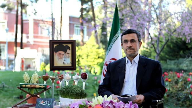 FILE - In this file photo released by official website of the Iranian supreme leader's office, Iranian President Mahmoud Ahmadinejad delivers a speech for the Iranian New Year, Nowruz, in Tehran, Iran, Wednesday, March 20, 2013. Ahmadinejad did something quietly remarkable: He stood modestly to the side and let his favored aide have the spotlight. (AP Photo/Office of the Supreme Leader)