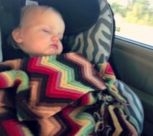 Baby asleep on our latest trip.