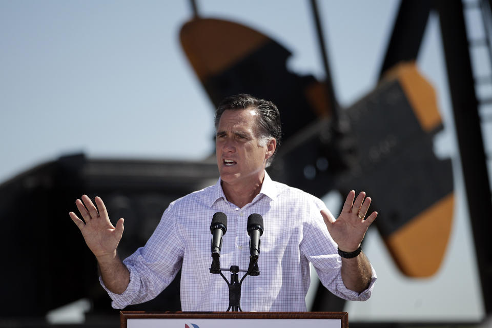 Republican presidential candidate, former Massachusetts Gov. Mitt Romney speaks at a campaign stop held at KP Kauffman Co., an oil and gas production and drilling company in Fort Lupton, Colo., Wednesday, May 9, 2012. (AP Photo/Jae C. Hong)