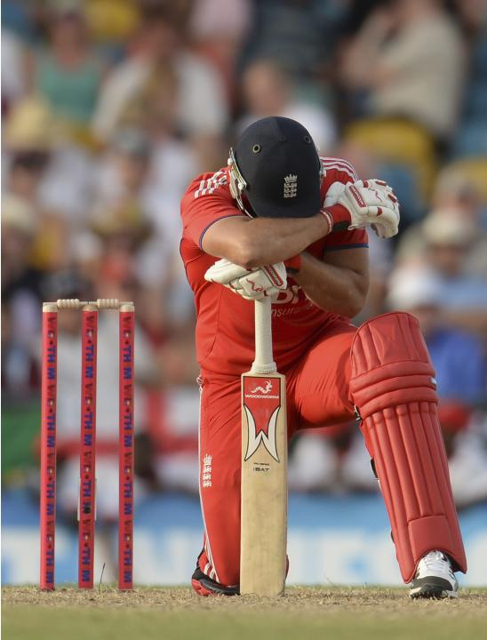 England's Bresnan reacts during the first T20 international cricket match against the West Indies' at Kensington Oval in Bridgetown, Barbados