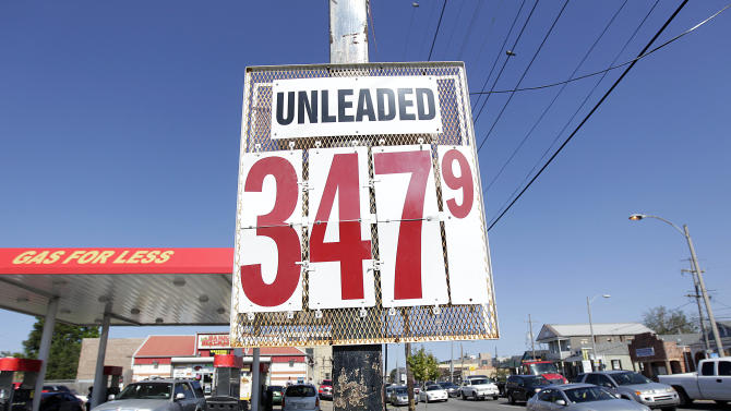 Gas prices are displayed at a gas station and mini-mart in the Mid City section of New Orleans in New Orleans, Thursday, Oct. 18, 2012. The national average retail price has fallen for ten straight days and is now $3.74 per gallon. That's 13 cents below the fall peak of $3.87 reached on Sept. 14, although still higher than ever for this time of year. (AP Photo/Gerald Herbert)