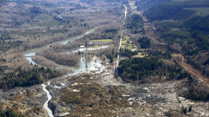 Highway 530 disappears into a massive mudslide that destroyed Oso, Washington