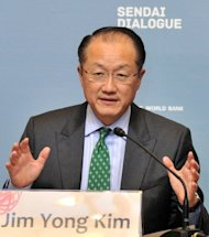 World Bank President Jim Yong Kim answers questions at a press conference after the closing session of the two-day conference on disaster prevention and development issues in Sendai. Catastrophes like Japan's 2011 tsunami cost the world more than $3.5 trillion over the last 30 years, a conference heard, as the World Bank called for better disaster planning