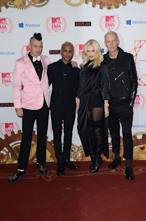Adrian Young, Tony Kanal, Gwen Stefani and Tom Dumont of No Doubt arrive at the MTV EMA's 2012 at Festhalle Frankfurt on November 11, 2012 in Frankfurt am Main, Germany -- Getty Images