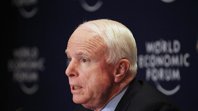 FILE - In this Saturday, May 25, 2013 file photo, Republican Sen. John McCain speaks at a news conference at the World Economic Forum, held at the King Hussein Bin Talal Convention center, in Southern Shuneh, 34 miles (55 kilometers) southeast of Amman, Jordan. McCain has quietly slipped into Syria for a meeting with Syrian rebels, spokeswoman Rachael Dean confirmed Monday, May 27, 2013. She declined further comment about the trip. The visit took place amid meetings in Paris involving efforts to secure participation of Syria's fractured opposition in an international peace conference in Geneva. (AP Photo/Mohammad Hannon, File)