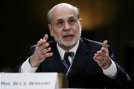 "Federal Reserve Board Chairman Ben Bernanke testifies before a Senate Banking, Housing and Urban Affairs Committee hearing on ""The Semiannual Monetary Policy Report to the Congress."" in Washington February 26, 2013. REUTERS/Gary Cameron"