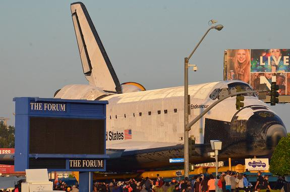 Space Shuttle Endeavour 'Launches' on Last Journey Through L.A.