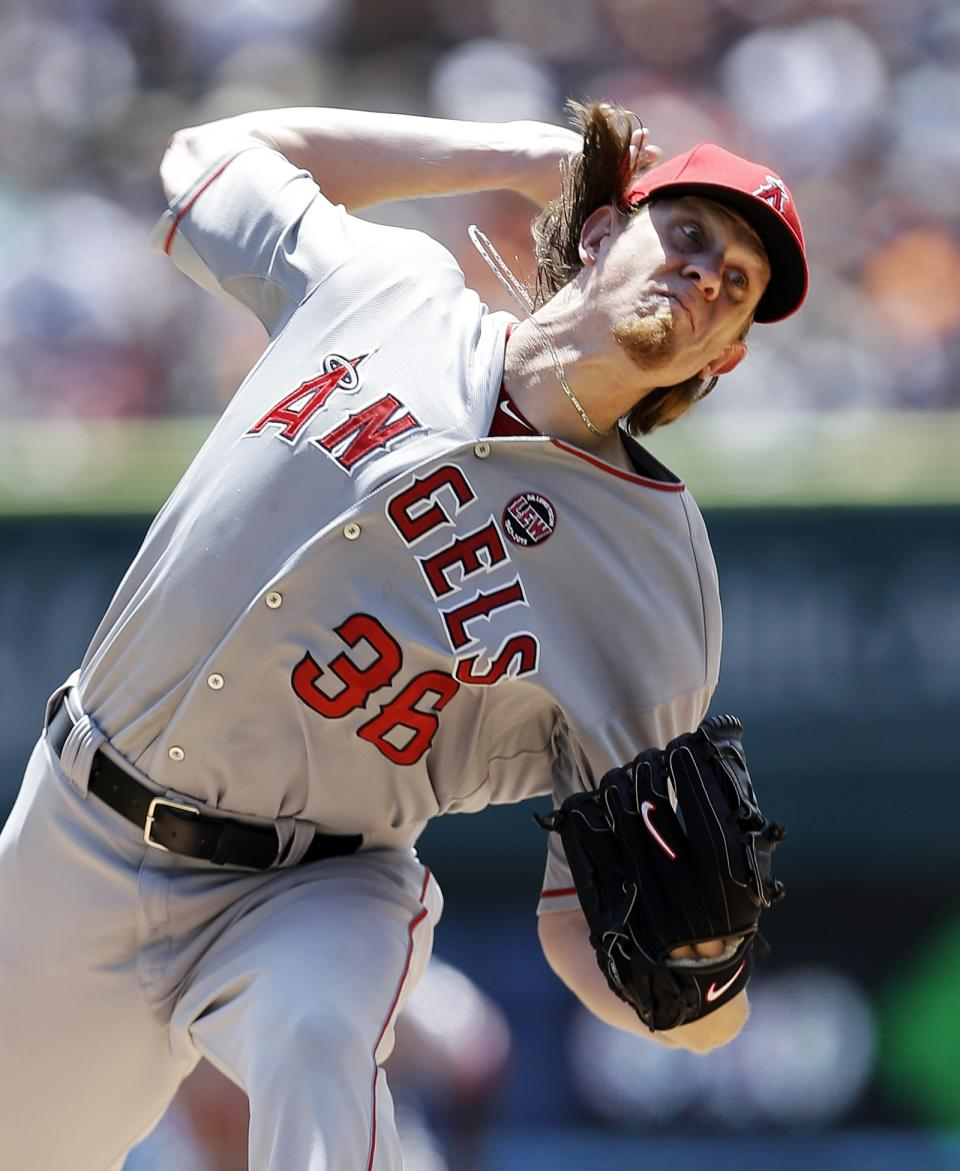 Los Angeles Angels pitcher Jered Weaver throws against the Detroit Tigers in the first inning of a baseball game in Detroit, Thursday, June 27, 2013. (AP Photo/Paul Sancya)