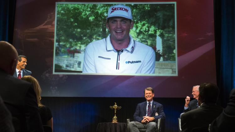 Ryder Cup team U.S. captain Tom Watson smiles as he announces that Keegan Bradley will be one of his three picks to add to this year's Ryder Cup squad in New York