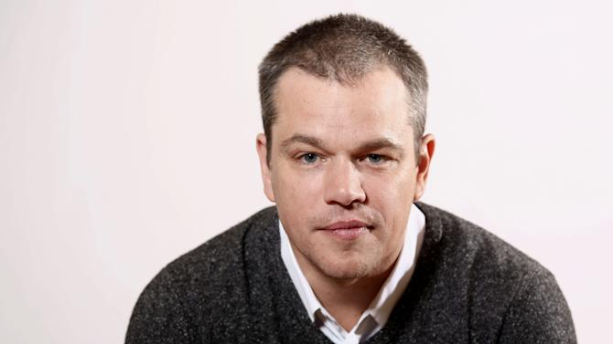 """In this Jan. 4, 2013 photo, actor Matt Damon, from the HBO film """"Behind the Candelabra"""", poses for a portrait during the HBO Winter TCA Tour in Pasadena, Calif. An all-star line-up including Matt Damon, Alan Alda and Vanessa Redgrave are set to feature in a night of readings and a town hall discussion hosted by The Public Theater. The June 17 one-night-only event at the Delacorte Theater in Central Park will also feature Christine Baranski, Gloria Reuben, Raul Esparza, Hamish Linklater, Jesse L. Martin, Lily Rabe and Marsha Stephanie Blake. (Photo by Matt Sayles/Invision/AP)"""