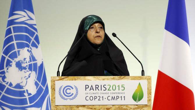 Vice President of the Islamic Republic of Iran Ebtekar delivers a speech during the opening session of the World Climate Change Conference 2015 (COP21) at Le Bourget