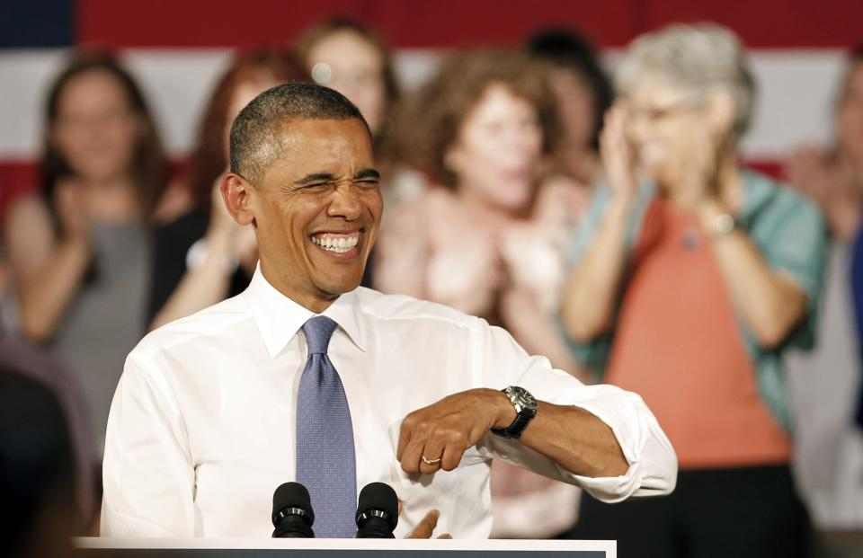 President Barack Obama smiles during a campaign stop in West Palm Beach, Fla., Thursday, July 19, 2012. Obama is spending two days in Florida campaigning. (AP Photo/Alan Diaz)