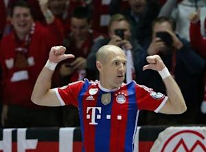 Bayern Munich's Robben celebrates after scoring a goal against Borussia Dortmund during their German Cup (DFB Pokal) final soccer match in Berlin