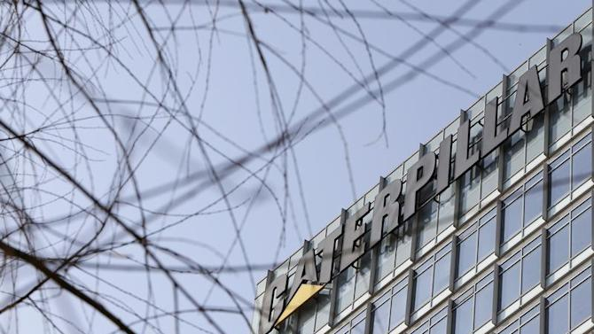 The company logo is seen on top of a building, where Caterpillar Investment Co., Ltd. is located, in Beijing