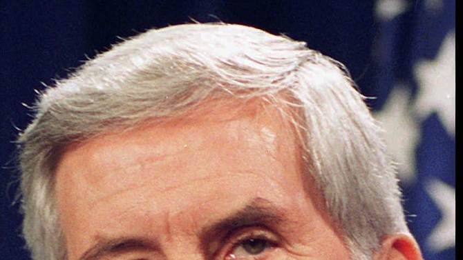 FILE - Sen. Richard Lugar of Indiana, is shown in this September 1993 file photo. Among those who supported both Sonia Sotomayor and Elena Kagan  was Sen. Richard Lugar, a six-term Indiana Republican who lost his seat in 2012 in a primary. The NRA exacted its revenge in that race, spending $200,000 against him in order to help GOP challenger Richard Mourdock.   (AP Photo/File)