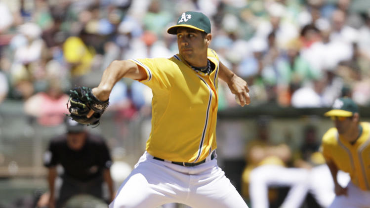 Oakland Athletics starting pitcher Gio Gonzalez throws against the Kansas City Royals during the first inning of their baseball game in Oakland, Calif., Thursday, June 16, 2011. (AP Photo/Eric Risberg)
