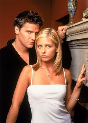 David Boreanaz as Angel and Sarah Michelle Gellar as Buffy on Buffy The Vampire Slayer