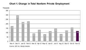ADP National Employment Report: Private Sector Employment Increased by 118,000 Jobs in November