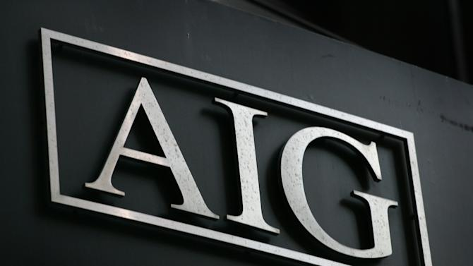 FILE - In this Sept. 17, 2008 file photo, the AIG logo is shown in New York. American International Group Inc. says it will sell up to 90 percent of its airplane leasing unit International Lease Finance Corp. to an investor group led by Weng Xianding, chairman of New China Trust Co. Ltd., for approximately $5.28 billion. (AP Photo/Mark Lennihan, File)