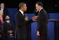 US President Barack Obama (L) and Republican presidential candidate Mitt Romney at the start of the second presidential debate at Hofstra University in Hempstead, New York. The two sparred over how to handle ties with China, the world's number two economy