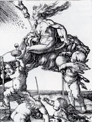 German artist Albrecht Dürer created this engraving around the year 1500, showing a witch riding a goat. Between her legs, she holds a distaff, or stick used for spinning wool.