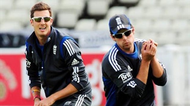 England's Alastair Cook (right) and Steven Finn during nets session at Edgbaston, Birmingham (PA)