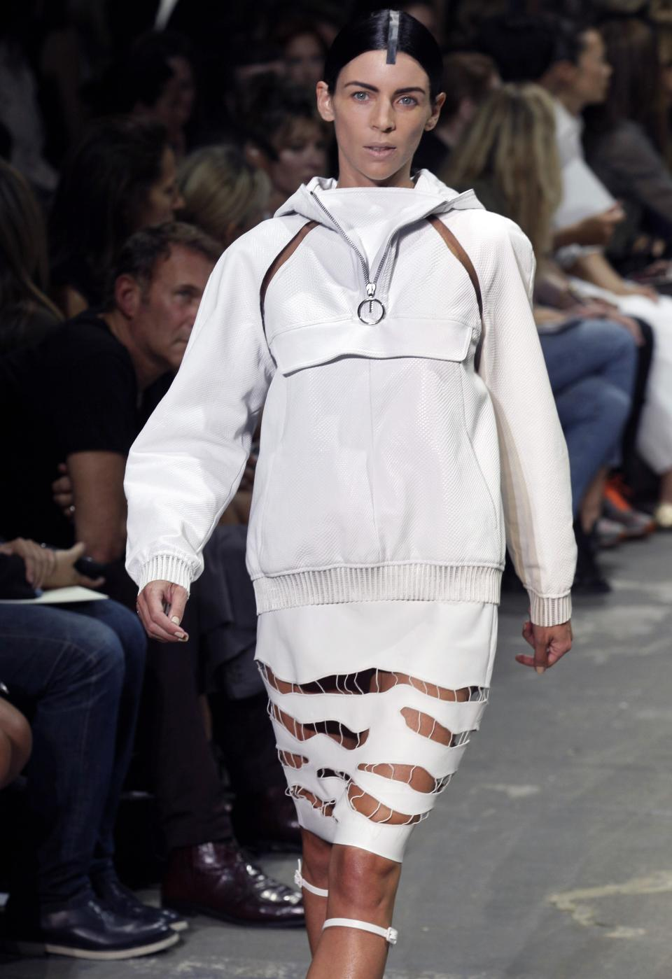 Liberty Ross models the Alexander Wang Spring 2013 collection  during Fashion Week in New York,  Saturday, Sept. 8, 2012. (AP Photo/Richard Drew)