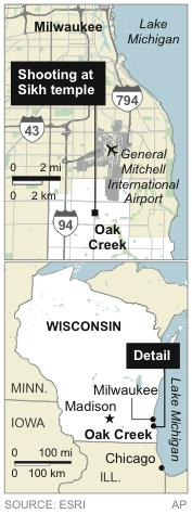 UPDATES to add detailed location; map locates Oak Creek, Wis., site of shooting at Sikh temple