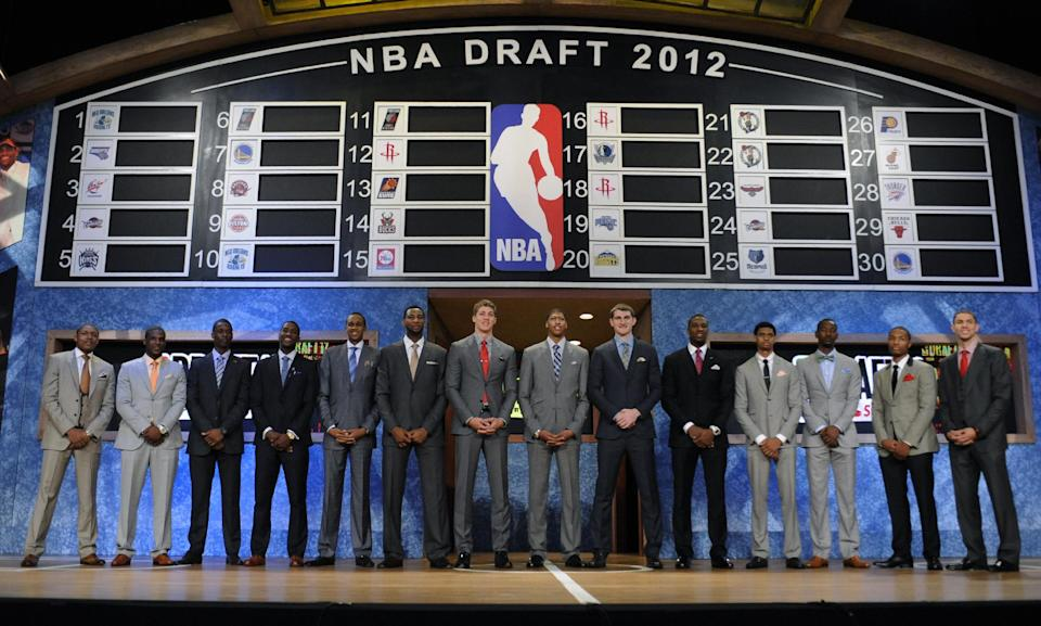 NBA basketball draftees stand on stage before the draft on Thursday, June, 28, 2012, in Newark, N.J. (AP Photo/Bill Kostroun)