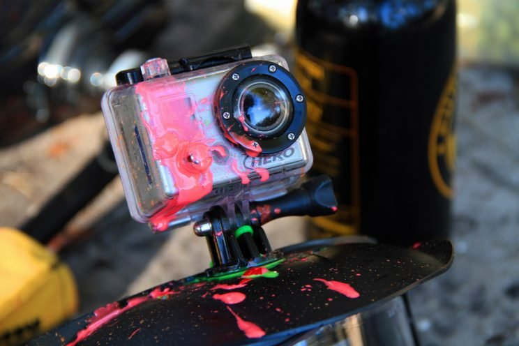 GoPro covered in paint