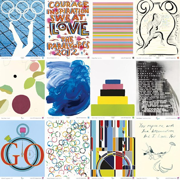London 2012 handout composite photo showing posters by (top row, from the left) Anthea Hamilton, Bob and Roberta Smith, Bridget Riley, Chris Ofili, (second row, from the left) Gary Hume, Howard Hodgki