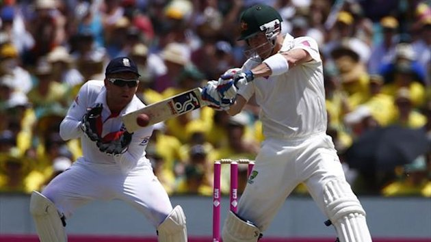 Australia's Brad Haddin hits a four next to England's Jonny Bairstow during the first day of the fifth Ashes cricket Test in Sydney (Reuters)