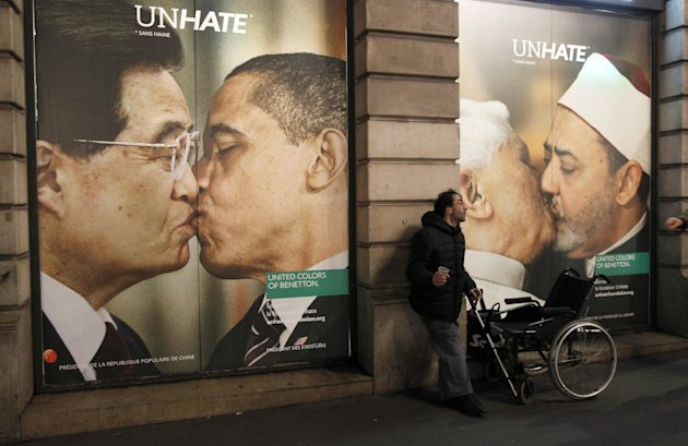 A controversial ad shows Pope Benedict kissing Egypt's Ahmed el Tayyeb, the imam of Cairo's Al-Azhar Mosque