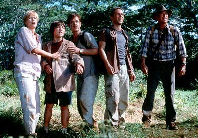 Tea Leoni , Trevor Morgan , William H. Macy , Alessandro Nivola and Sam Neill in Universal's Jurassic Park 3